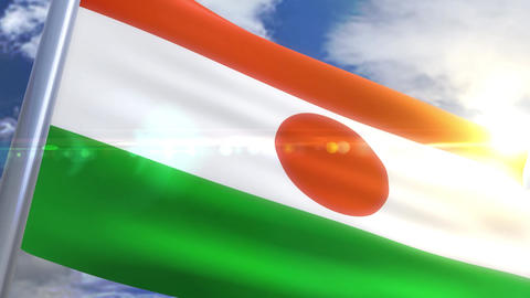 Waving flag of Niger Animation Animation