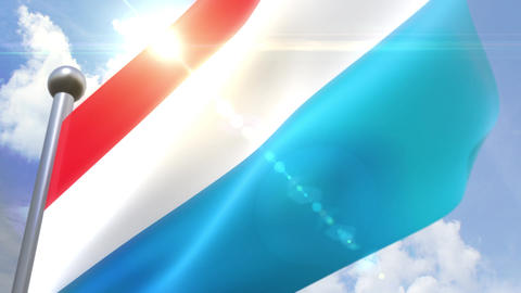 Waving flag of Luxembourg Animation 動画素材, ムービー映像素材