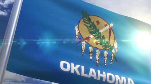 Waving flag of the state of Oklahoma USA Animation