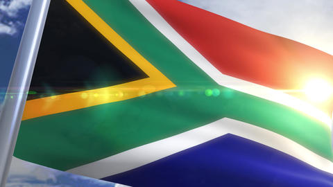 Waving flag of South Africa Animation Animation