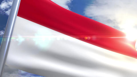 Waving flag of Monaco Animation Animation