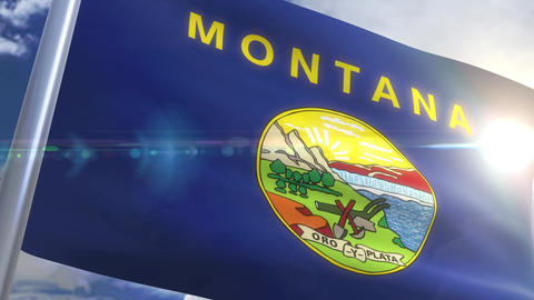 Waving flag of the state of Montana USA Animation