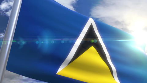 Waving flag of St. Lucia Animation Animation