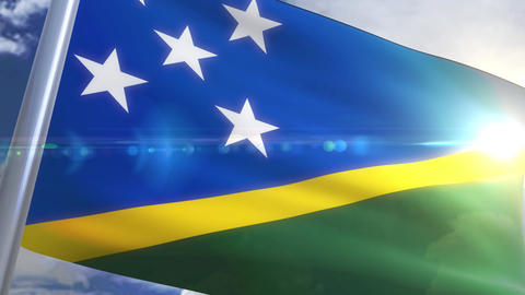 Waving flag of Solomon Islands Animation Animation