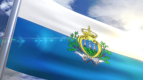 Waving flag of San Marino Animation Animation