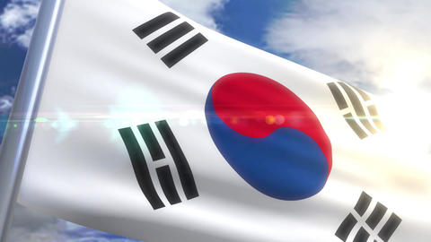 Waving flag of South Korea Animation Animation