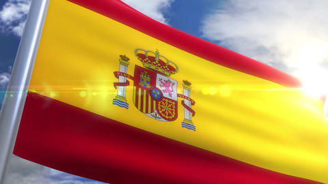 Waving flag of Spain Animation Animation