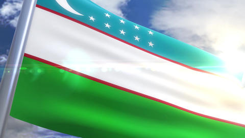 Waving flag of Uzbekistan Animation Animation