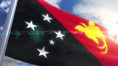Waving flag of Papua New Guinea Animation Animation