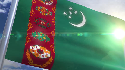 Waving flag of Turkmenistan Animation Animation