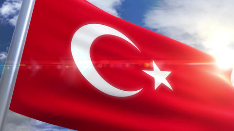 Waving flag of Turkey Animation Animation