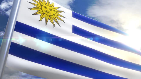 Waving flag of Uruguay Animation Animation