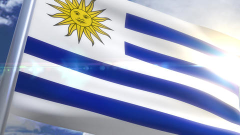 Waving flag of Uruguay Animation 動画素材, ムービー映像素材