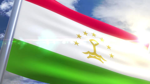 Waving flag of Tajikistan Animation Animation