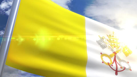 Waving flag of Vatican City Animation Animation
