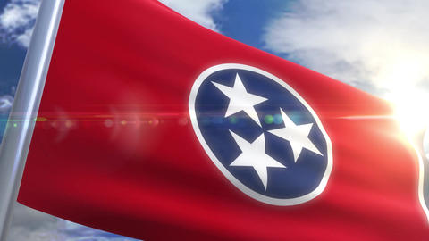 Waving flag of the state of Tennessee USA Animation