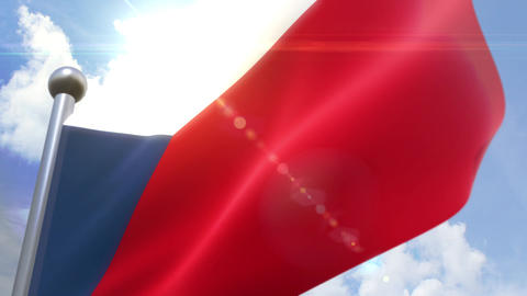 Waving flag of Czech Republic Animation 動画素材, ムービー映像素材