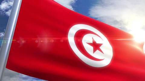 Waving flag of Tunisia Animation Animation