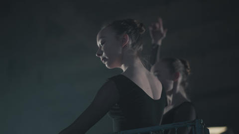 Portrait two graceful professional ballerinas dancing on her pointe ballet Footage