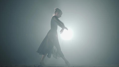 Young graceful ballerina dancing elements of classical... Stock Video Footage