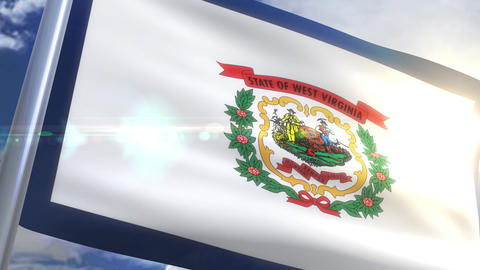 Waving flag of the state of West Virginia USA Animation
