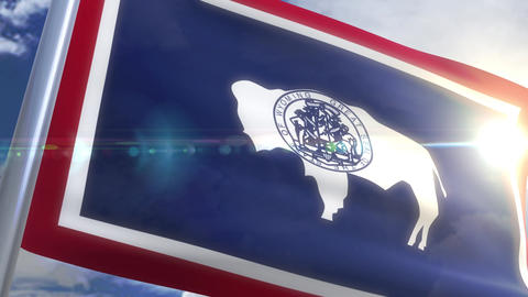 Waving flag of the state of Wyoming USA Animation