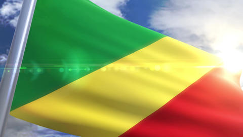 Waving flag of Republic of the Congo Animation Animation