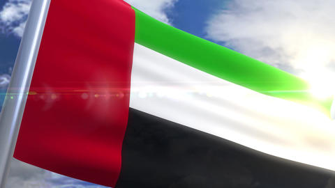 Waving flag of United Arab Emirates Animation 動画素材, ムービー映像素材
