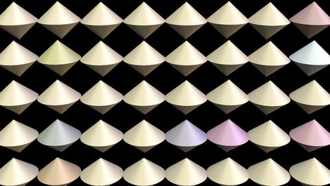 Multicolored group of cones, 3d animation, cone group moving, color changing Animation