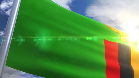 Waving flag of Zambia Animation Animation