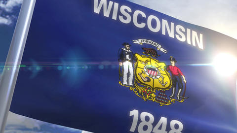 Waving flag of the state of Wisconsin USA Animation
