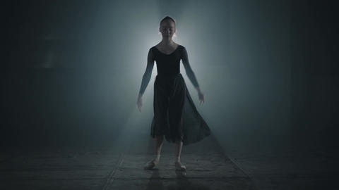 Graceful professional ballerina dancing in ballet shoes and black dress in the Footage