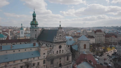 Aerial City Lviv, Ukraine. European City. Popular areas of the city. Church Live Action