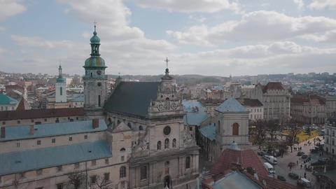 Aerial City Lviv, Ukraine. European City. Popular areas of the city. Church Footage