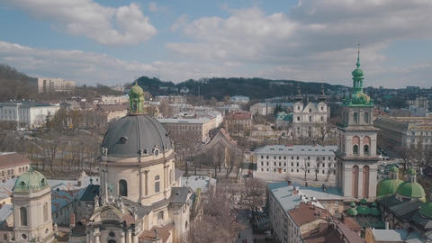 Aerial City Lviv, Ukraine. European City. Popular areas of the city. Dominican Footage