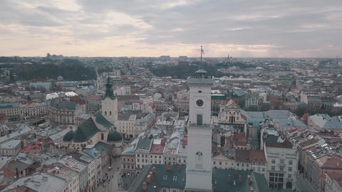 Aerial panorama of the ancient european city Lviv, Ukraine. Town Hall, Ratush Live Action