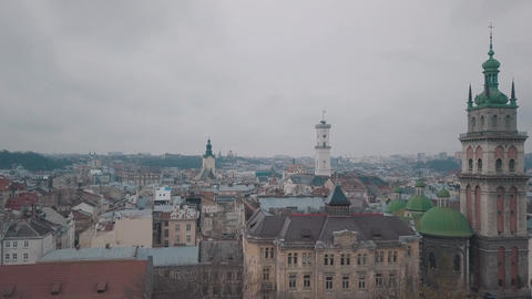 Aerial City Lviv, Ukraine. European City. Popular areas of the city Live Action
