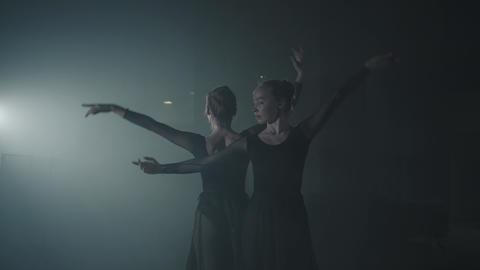 Portrait of two graceful ballet dancers shows classic ballet pas. Professional Footage