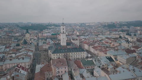 Aerial City Lviv, Ukraine. European City. Popular areas of the city. Ratush Footage