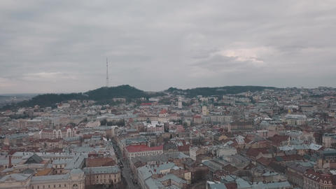 Aerial City Lviv, Ukraine. European City. Popular areas of the town Footage