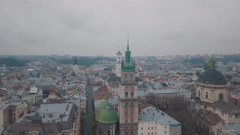 Aerial City Lviv, Ukraine. European City. Popular areas of the city. Dominican Footage