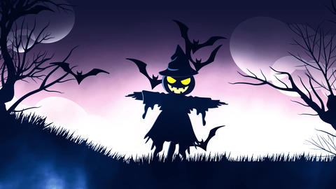 Halloween background animation with the concep of Spooky scarecrow and Bats Animation