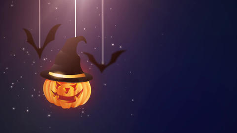 Halloween blue background animation with pumpkin and Bats falling down and Animation