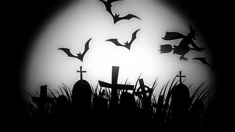 animation of a spooky cemetery with flying bats halloween Animation