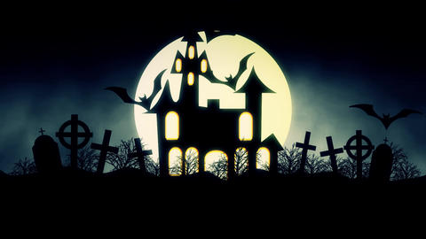 animation of a spooky haunted house with flying bats Halloween CG動画