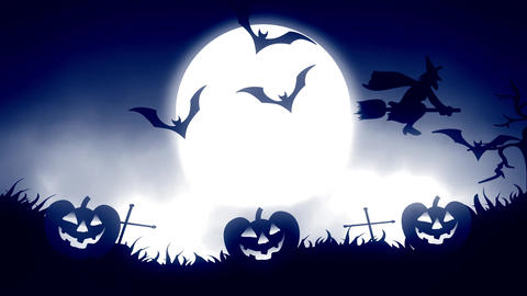Halloween background animation with the concept of Spooky Pumpkins, Moon and Animation