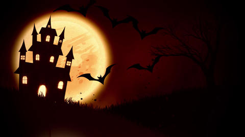 animation of a spooky haunted house with Jack-o-lantern…, Stock Animation