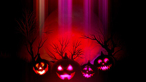 animation of spooky Jack-o-lantern Halloween pumpkins with flying bats with red Animation