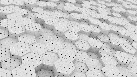 Abstraction Hive Hexagon Geometric Area bright clean grid waving move backdrop Footage