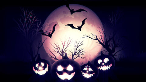 animation of spooky Jack-o-lantern Halloween pumpkins with flying bats with blue Animation